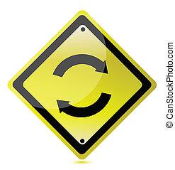 ciclo, giallo, illustrazione, segno
