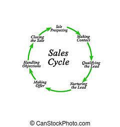 ciclo, sette, componenti, vendite