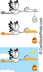 cicogna, portante, uovo di pasqua