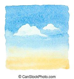 cielo blu, acquarello