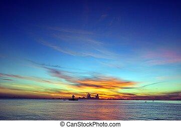 cielo blu, alba, oceano