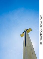 cielo blu, chiaro, cristiano, croce