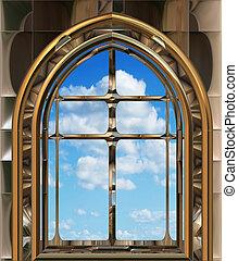 cielo blu, finestra, gotico, scifi, o
