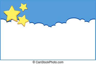 cielo blu, fondo, disegno, sagoma, stelle