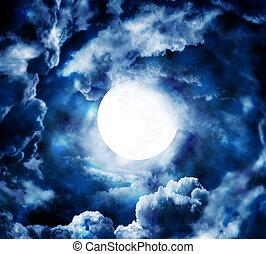 cielo blu, luna