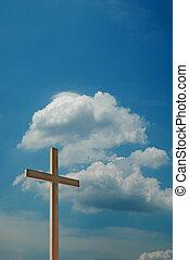 cielo blu, nubi, croce