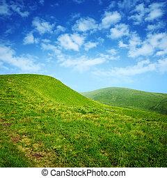 cielo blu, verde, nubi, colline