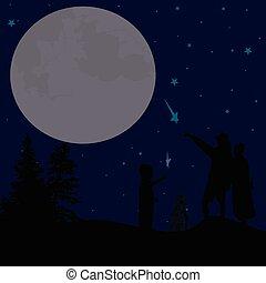cielo, coppia, notte, silhouette, osservare