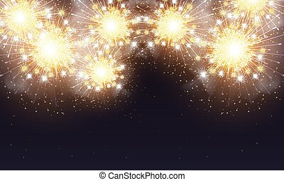 cielo, fireworks, notte, bagliori