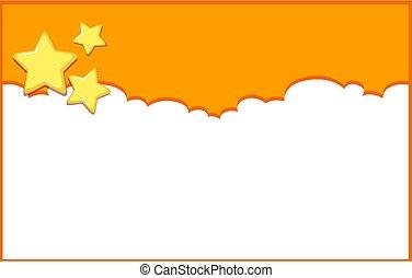 cielo, fondo, disegno, arancia, stelle