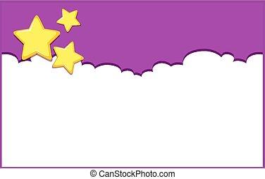 cielo, fondo, disegno, viola, sagoma, stelle