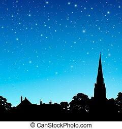 cielo, guglia chiesa, notte