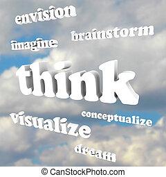 cielo, -, idee, parole, immaginare, nuovo, pensare, fare un sogno