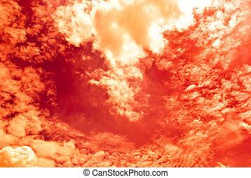 cielo, infocato, rosso