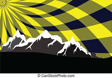 cielo, montagne, astratto, alto