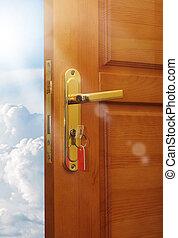 cielo, porta, aperto