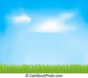 cielo, primavera, astratto, nubi, grass., vettore, sfondo verde, disegno, tuo, sagoma