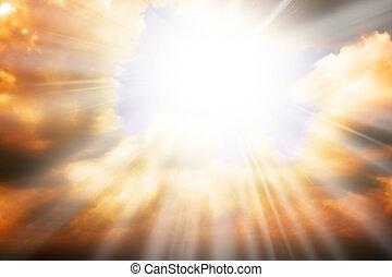 cielo, sole, -, raggi, religione, concetto, cielo