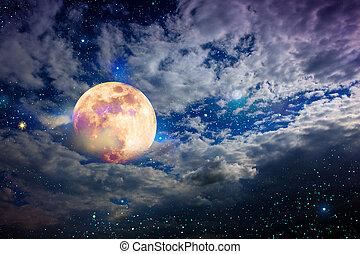cielo, stelle, pieno, notte, fondo., moon., astratto