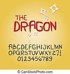 cifra, alfabeto, astratto, vettore, scarabocchiare, affilato