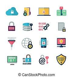cifratura, dati, icone