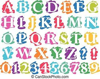 cifre, lettere, scarabocchiare, colore, schizzo, alfabeto