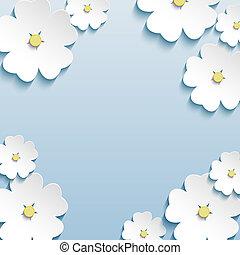 ciliegia, astratto, albero, fondo, sakura, floreale, fiori, 3d