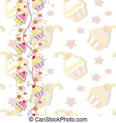 ciliegia, cupcake, colorito, scheda, invito