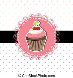 ciliegia, cupcake, scheda, invito