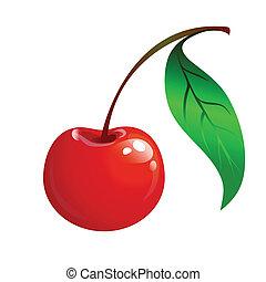 ciliegia, foglia, verde, maturo, rosso