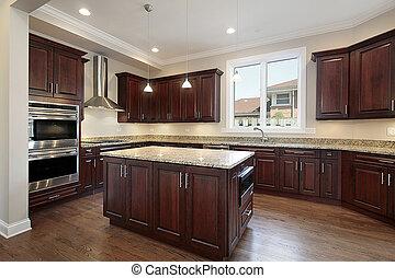 ciliegia, legno, cabinetry, cucina