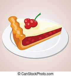 ciliegia, pezzo, torta