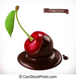 ciliegia, realistico, vettore, chocolate., 3d, icona