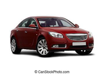 ciliegia, vista, front-side, macchina rossa