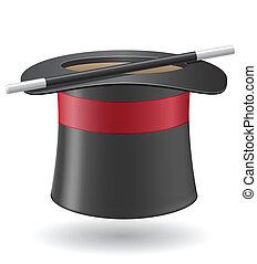 cilindro, bacchetta magica, illustrazione, vettore, cappello