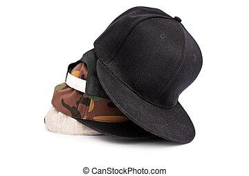 cima, accatastato, altro, cappelli, differente, snapback, colori