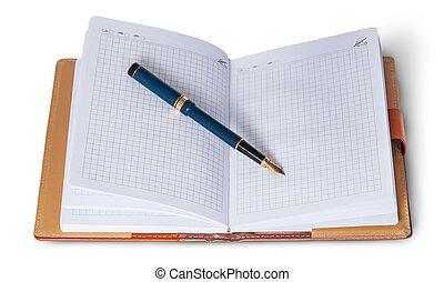 cima aperta, quaderno, penna fontana