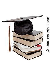 cima, berretto, graduazione, libri, bianco, pila