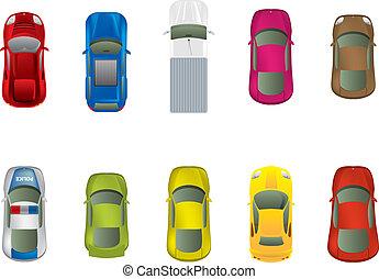 cima, differente, automobili, vista