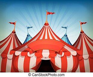 cima grande, circo, bandiera, tende