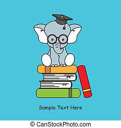 cima, libri, seduta, elefante