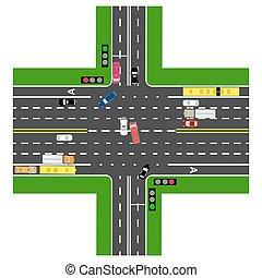 cima, non-principal, traffico, intersezione, roads., infographics., automobili, verde, highway., segnale strada, la maggior parte, transport., caricato, road., vista, autostrada, mappe, lights., pubblico