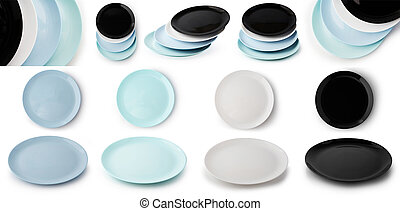 cima, pila, colorare, isolato, lato, bianco, vuoto, set, piastre, vista, differente, fondo., appartamento