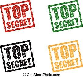 cima, set, segreto, francobolli