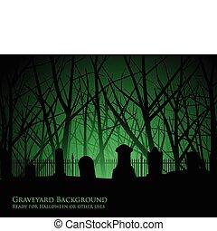 cimitero, albero, fondo