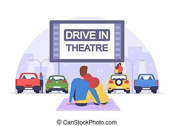 cinema., automobili, drive-in, fondo, automobile, cityscape, aria, teatro, stare in piedi, aperto, datazione, coppia romantica, parcheggio