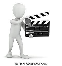 cinema, clapper., -, piccolo, persone, 3d