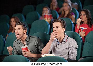 cinema, film, cinema., persone, due, fondo, osservare, amici