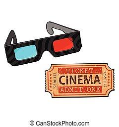 cinema, film, stereoscopic, blu-rosso, biglietto, occhiali, 3d