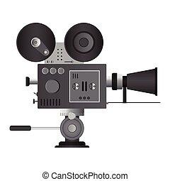 cinema, illustrazione, bianco, isolato, fondo, proiettore, vettore, vendemmia